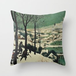 HUNTERS IN THE SNOW - BRUEGEL Throw Pillow