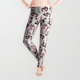 red flowers on a white background in a cage. Leggings