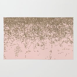 Girly Blush Pink and Gold Glitter Ombre Rug