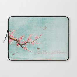 Live life in full bloom - Romantic Spring Cherry Blossom butterfly Watercolor illustration on teal Laptop Sleeve
