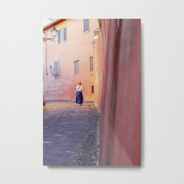 The city of Florence, Italy | Beautiful pink streets in Firenze | Poster print art Metal Print