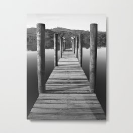Boat Dock in Black and White Metal Print