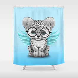 Snow Leopard Cub Fairy Wearing Glasses on Blue Shower Curtain