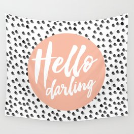 Hello Darling Spots - peach orange, black and white Wall Tapestry