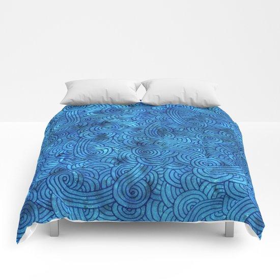 Turquoise blue swirls zentangle Comforters