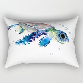 Sea Turtle Illustration Rectangular Pillow