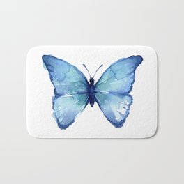 Blue Butterfly Watercolor Bath Mat
