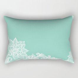 White Flower Lace Henna Design Teal Blue Mint Aqua Vintage Lace White Lace Design Rectangular Pillow
