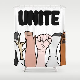 Unite Animal Equality Fists Shower Curtain