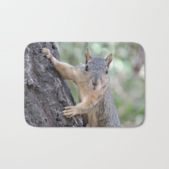 The Who You Lookin At Squirrel Bath Mat