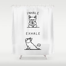 inhale exhale french bulldog shower curtain