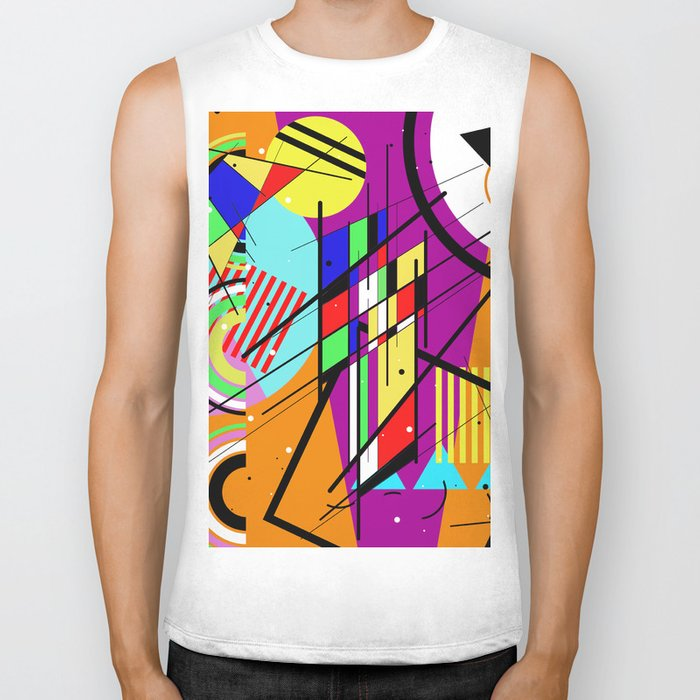 Crazy Retro 2 - Abstract, geometric, random collage Biker Tank