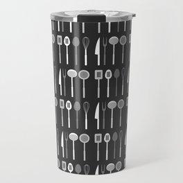 Kitchen Utensil Silhouettes Monochrome Travel Mug