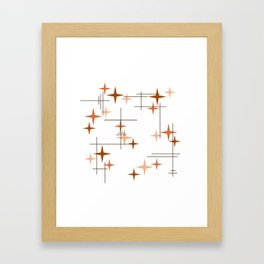 Mid Century Modern Stars Orange Framed Art Print