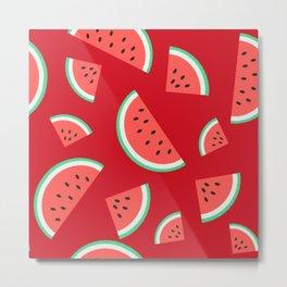 Watermelon Summer Pattern - red Metal Print