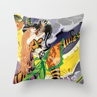 cassandra jean Throw Pillows featuring Cassandra The Witch Fairy by Wicked Studioz
