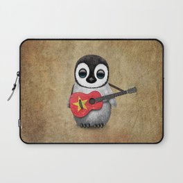 Baby Penguin Playing Vietnamese Flag Guitar Laptop Sleeve