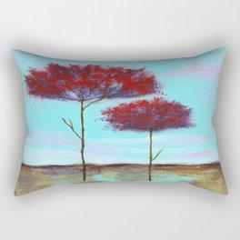 Cherished, Landscape Skinny Red Trees Rectangular Pillow
