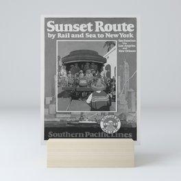 retro classic Sunset Route poster Mini Art Print
