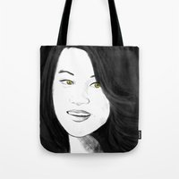 kitsune Tote Bags featuring Kitsune by Nikki Homicide