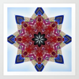 Red and blue classic trucks kaleidoscope Art Print