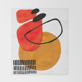 Mid Century Modern Abstract Vintage Pop Art Space Age Pattern Orange Yellow Black Orbit Accent Throw Blanket