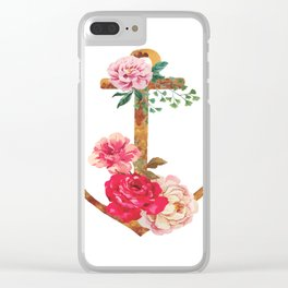 floral rusted anchor Clear iPhone Case