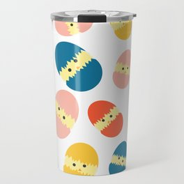 Multi Coloured Easter Eggs with Chicks - Yellow Orange Turquoise Pink Travel Mug