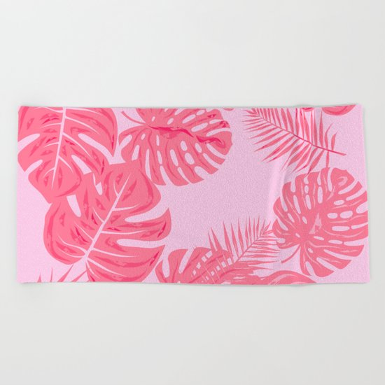 Tropical flamingo pink leaves Beach Towel
