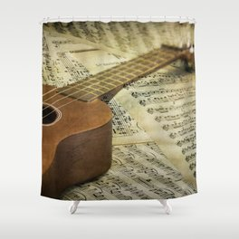 Do a Little Jig; ukulele with sheet music in the background Shower Curtain