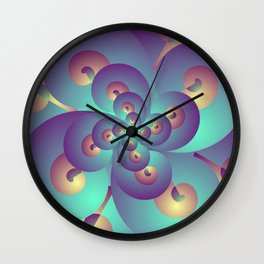 Acid Psychedelic Trance, Blue and Gold Fractal Wall Clock