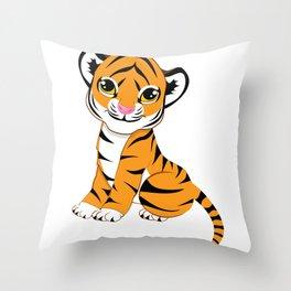 Little Tiger Cub Throw Pillow