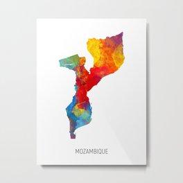 Mozambique Watercolor Map Metal Print