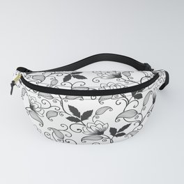 White Black Special Indian Abstract Floral Fanny Pack