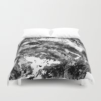 shih tzu Duvet Covers featuring Shih Tzu Dog Art In Black And White by Sharon Cummings by Sharon Cummings
