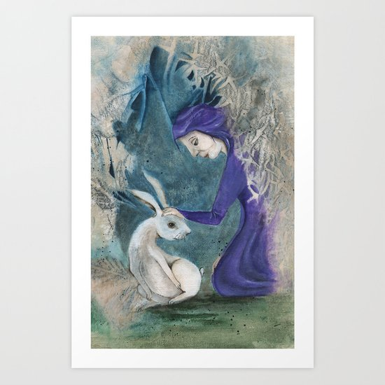 Witch and Hare Art Print