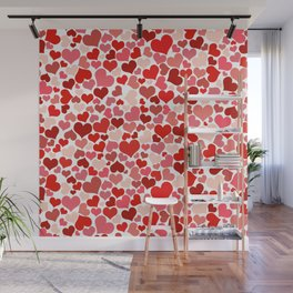 Love, Romance, Hearts - Red White Wall Mural