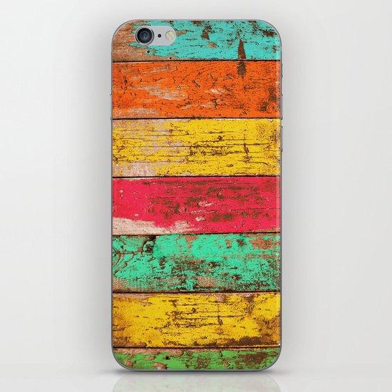 Vintage Colored Wood 3 iPhone & iPod Skin