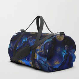 Gold and Indigo Malachite Marble Duffle Bag