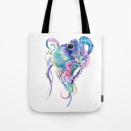 Tuquoise BLue Pink Purple Octopus Tote Bag