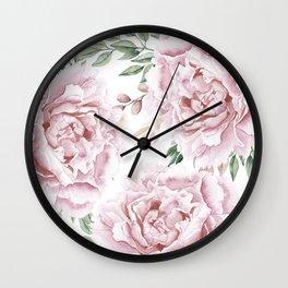 Girly Pastel Pink Roses Garden Wall Clock