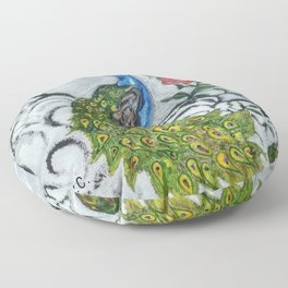 Peacock and Frog Floor Pillow