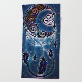 Moon swirl dreamcatcher Beach Towel