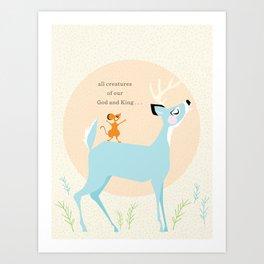 All Creatures (blue) Art Print