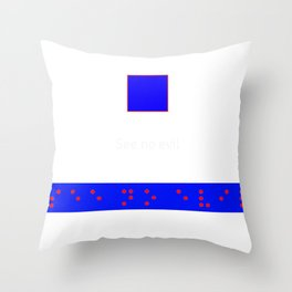 See No evil: Red Braille on Blue Boarder Throw Pillow