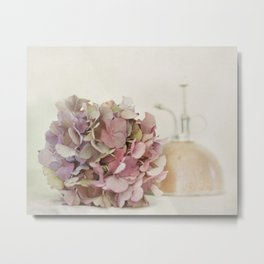 Hydrangea with Copper Misting Can Metal Print