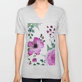 Poppies Roses Wildflowers Fushia Unisex V-Neck