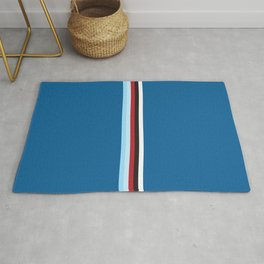 Pure Racing - Simple Lines on Blue Rug