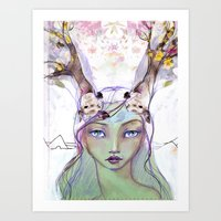 jane davenport Art Prints featuring Dear Deer by Jane Davenport by Jane Davenport