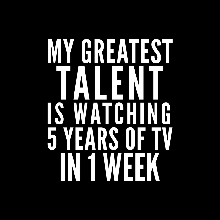 MY GREATEST TALENT IS WATCHING 5 YEARS OF TV IN 1 WEEK (Black & White) Comforters